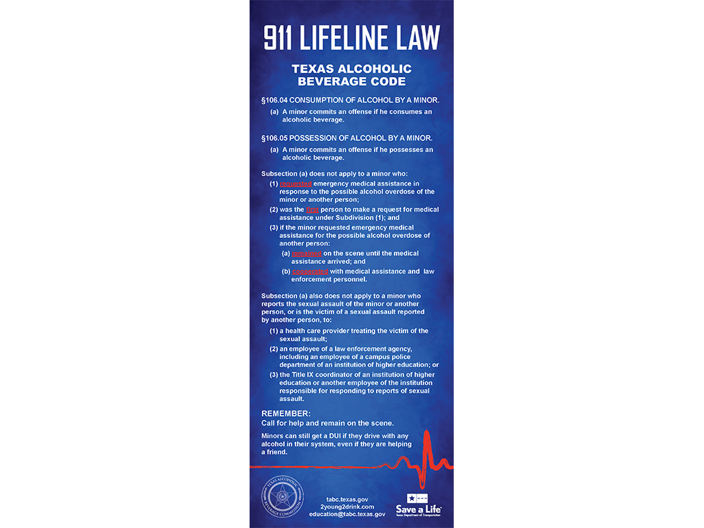 911 Lifeline Law Flyer