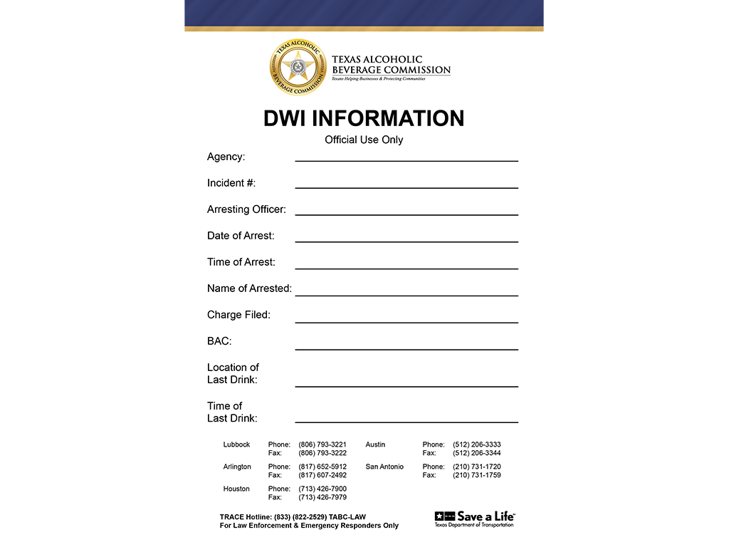 DWI Information Notepad