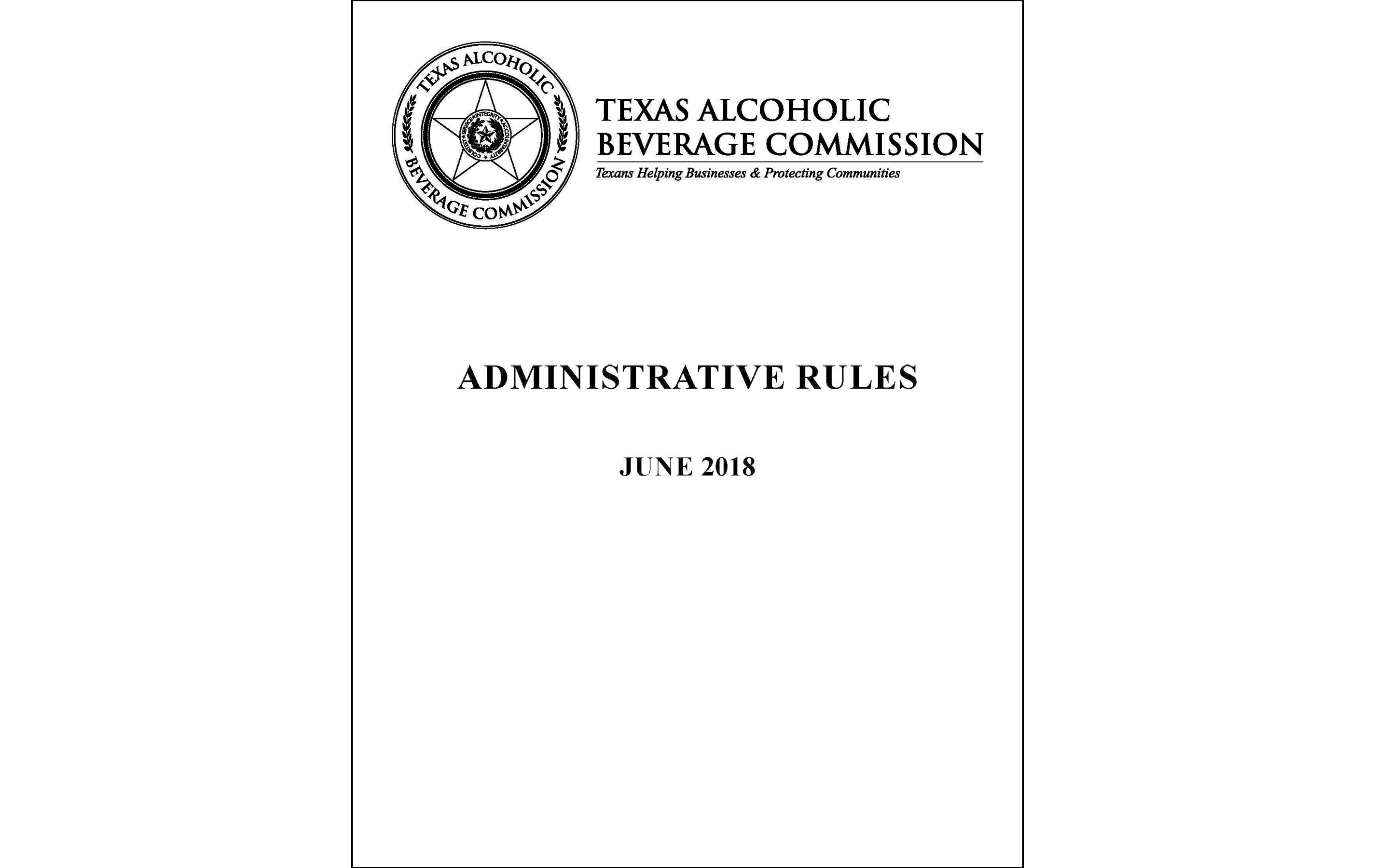 2018 TABC Administrative Rules