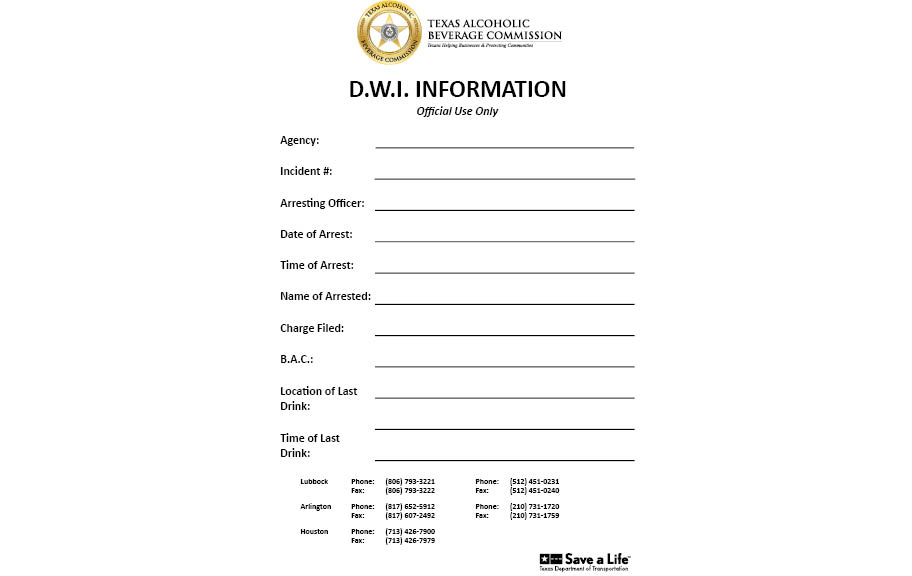 TRACE DWI Information Notepad
